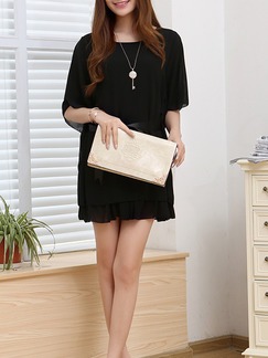 Black Above Knee Shift Dress for Casual Party Evening Office