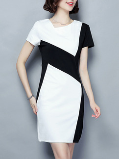 Black White Above Knee Sheath Dress for Casual Office Party Seasonal Discount