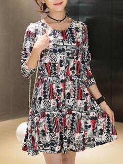 Black White Colorful Above Knee Fit & Flare Dress for Casual Party