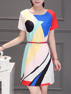 Blue Red Colorful Above Knee Shift Dress for Casual Party Office