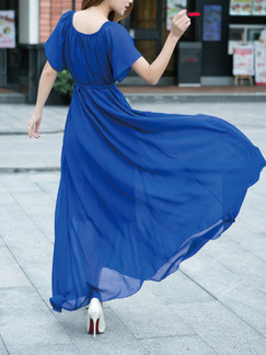 Blue Maxi Shift Dress for Casual Party Beach