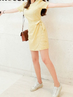 Gold Above Knee Plus Size Shift Dress for Casual Party Office Seasonal Discount