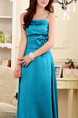 Blue Maxi Slip Dress for Party Evening Bridesmaid Prom Cocktail