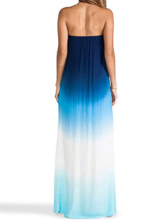 Blue White Maxi Strapless Plus Size Dress for Casual Party Beach