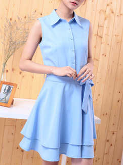 Blue Above Knee Fit & Flare Shirt Plus Size Dress for Casual Party Office