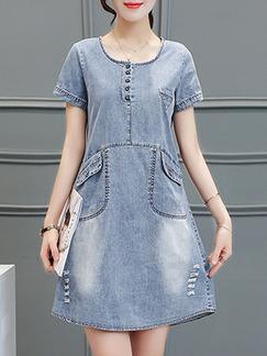 9ec1e747c6e Blue White Above Knee Shift Denim Plus Size Dress for Casual Party