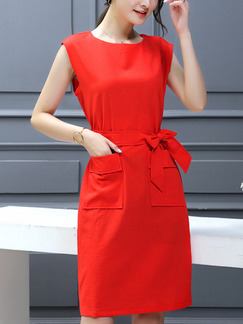 Red Above Knee Shift Dress for Casual Office Party
