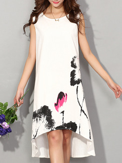 White Black Pink Midi Shift Plus Size Dress for Casual Party Evening