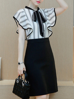 Black White Grey Short Dress for Casual Office Evening