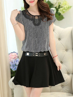Black Grey Above Knee Plus Size Lace Dress for Casual Party Evening  Seasonal Discount