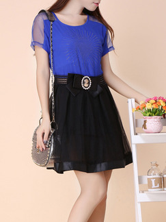 Black Blue Above Knee Fit & Flare Plus Size Dress for Casual Party Office