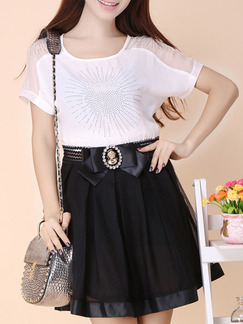 White Black Above Knee Fit & Flare Plus Size Dress for Casual Party Office