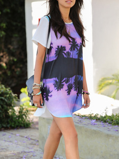 White Blue Colorful Above Knee Plus Size Shift Dress for Casual Beach  Seasonal Discount