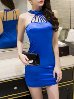 Blue Above Knee Halter Bodycon Dress for Party Evening Cocktail  Seasonal Discount