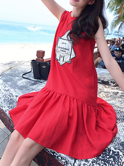 Red White Above Knee Plus Size Shift Dress for Casual Beach
