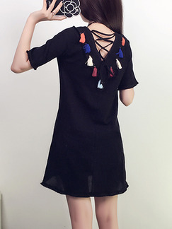 Black Colorful Above Knee Shift V Neck Dress for Casual Party