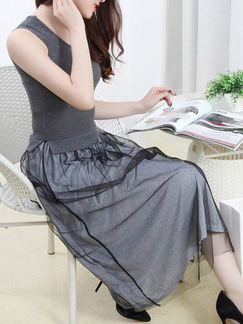 Grey Midi Fit & Flare Dress for Casual Party