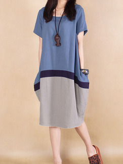 Blue Black Grey Knee Length Plus Size Shift Dress for Casual