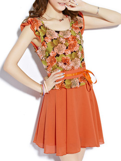 Orange Green Colorful Above Knee Plus Size Fit & Flare Floral Dress for Casual Party