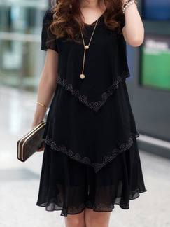 Black Above Knee V Neck Plus Size Shift Dress for Casual Party Evening