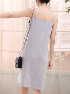 Grey Knee Length Shift Slip Dress for Casual