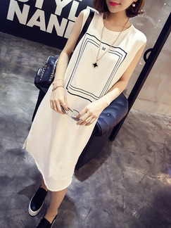 White Black Midi Shift Dress for Casual Party