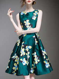 555f5f06a27 Green Yellow Knee Length Plus Size Floral Fit   Flare Dress for Party  Evening Cocktail