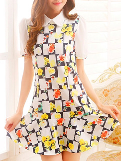 White Black Colorful Short Fit  Flare Dress for Casual Party Office Seasonal Discount