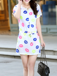 White Colorful Above Knee Fit & Flare Dress for Casual Seasonal Discount