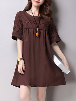 Brown Above Knee Shift Dress for Casual Party