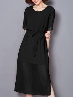 Black Midi Shift Plus Size Dress for Casual Party Evening