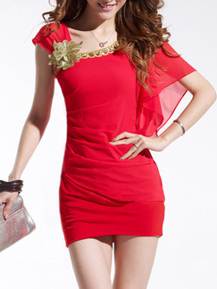 Red Golden Plus Size Above Knee Bodycon Dress for Party Evening Cocktail