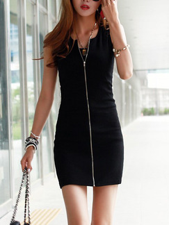 Black Silver Short Bodycon V Neck Dress for Casual Party Evening
