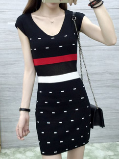 Black White Above Knee Bodycon Dress for Casual Party