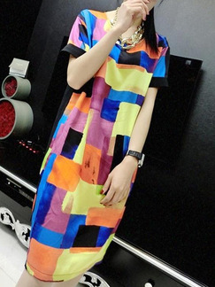 Black Colorful Midi Shift Plus Size Dress for Casual Party  Seasonal Discount