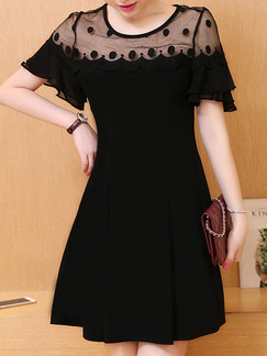 Black Above Knee Plus Size Fit & Flare Dress for Party Evening Cocktail