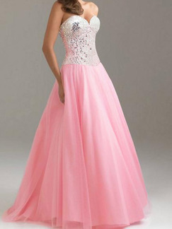 White Silver Pink Maxi Fit & Flare Strapless Plus Size Dress for Evening Prom Ball