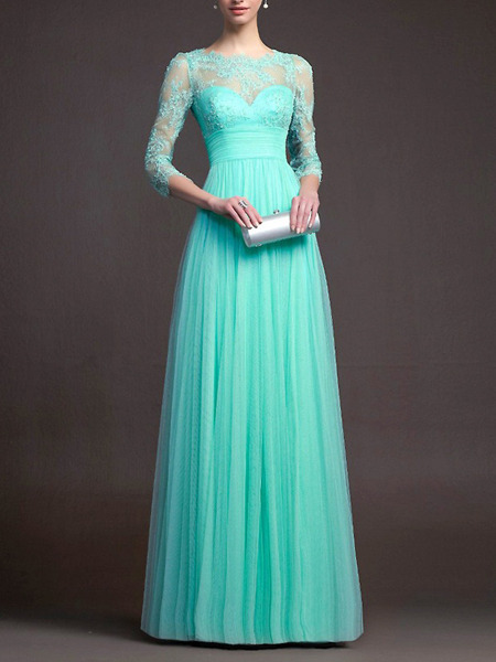 Green Plus Size Maxi Fit & Flare Lace Dress for Prom Bridesmaid Ball