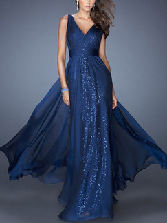 Blue Maxi V Neck Plus Size Dress for Evening Cocktail Prom Ball