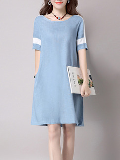 Blue White Above Knee Plus Size Shift Dress for Casual  Seasonal Discount