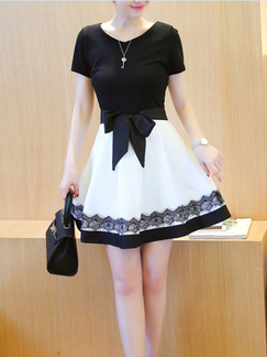 Black White Above Knee Plus Size Lace Fit & Flare Dress for Casual Party Evening