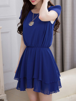 Blue Fit & Flare Above Knee Plus Size Dress for Casual Party Evening  Seasonal Discount