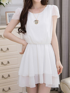 White Fit & Flare Above Knee Plus Size Dress for Casual Party Evening  Seasonal Discount