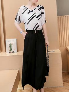 fdbd6c204a96 Black White Two Piece Shirt Pants Wide Leg V Neck Plus Size Jumpsuit for  Casual Office