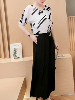 Black White Two Piece Shirt Pants Wide Leg V Neck Plus Size Jumpsuit for Casual Office Party Evening