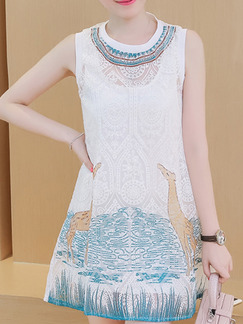 White Blue Above Knee Plus Size Lace Shift Dress for Casual Party