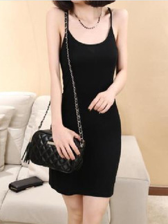 Black Above Knee Slip Bodycon Dress for Casual Party Evening