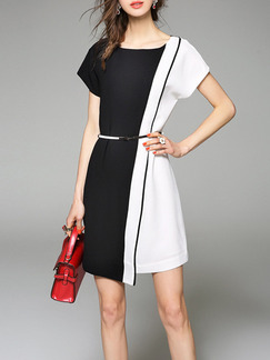 White Black Above Knee Plus Size Shift Dress for Casual Party Office