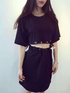 Black Two Piece Above Knee Shift Dress for Casual Party
