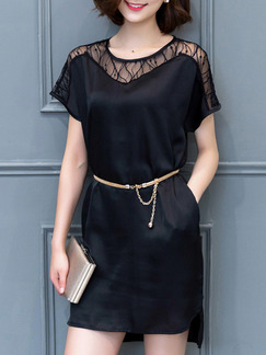 Black Short Lace Shift Dress for Casual Party Evening Seasonal Discount